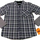 Nike 6.0 Boys 14-16 Gray Plaid Flannel Button-down Shirt with Striped Thermal Sleeves