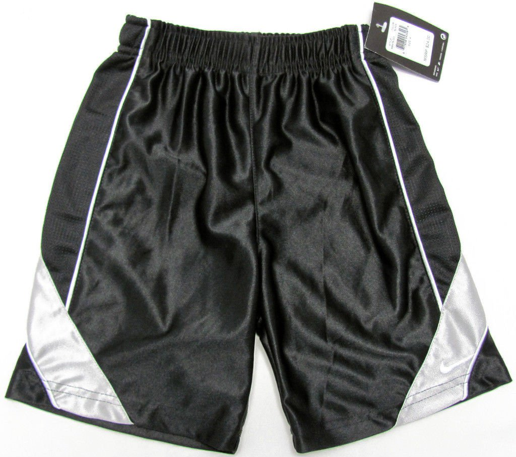 Nike Boys Size 4 Black Gym Shorts with Gray Stripes ...