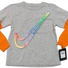Nike Boys Size 4 Gray Long Sleeve Tee Shirt Swoosh Logo New
