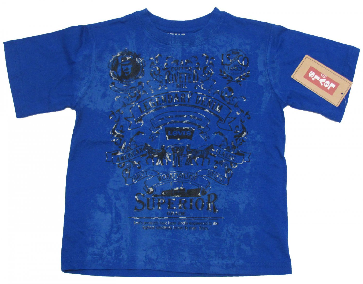 Levis boys size 4 blue copper mill tee shirt short sleeve for Levi s short sleeve shirt