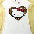 Hello Kitty Juniors M Cheetah Heart Tee Shirt White Medium Sanrio New