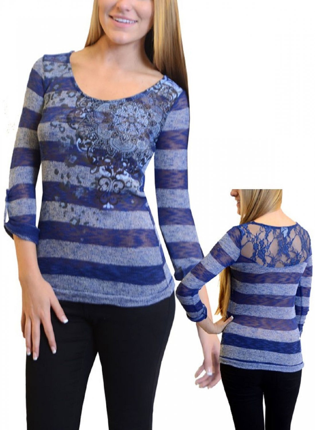 Vanity Womens S Blue Stripe Knit Shirt with Lace Back New