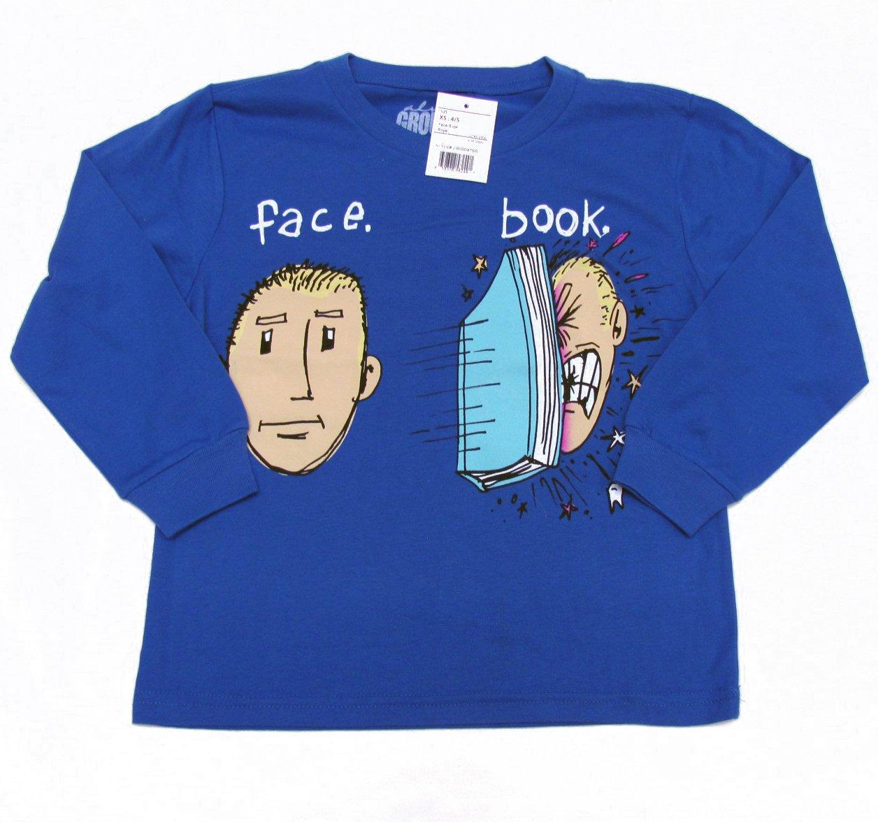 Always Grounded Boys size 7X-8 Funny Facebook T-shirt Blue Long Sleeve Tee Shirt Face Book