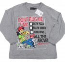 Always Grounded Boys sz 4-5 Don't Bug Me List Funny T-shirt Long Sleeve Gray Tee Shirt