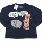 Always Grounded Boys XS 4-5 Funny Rock and Roll T-shirt Navy Long Sleeve Tee