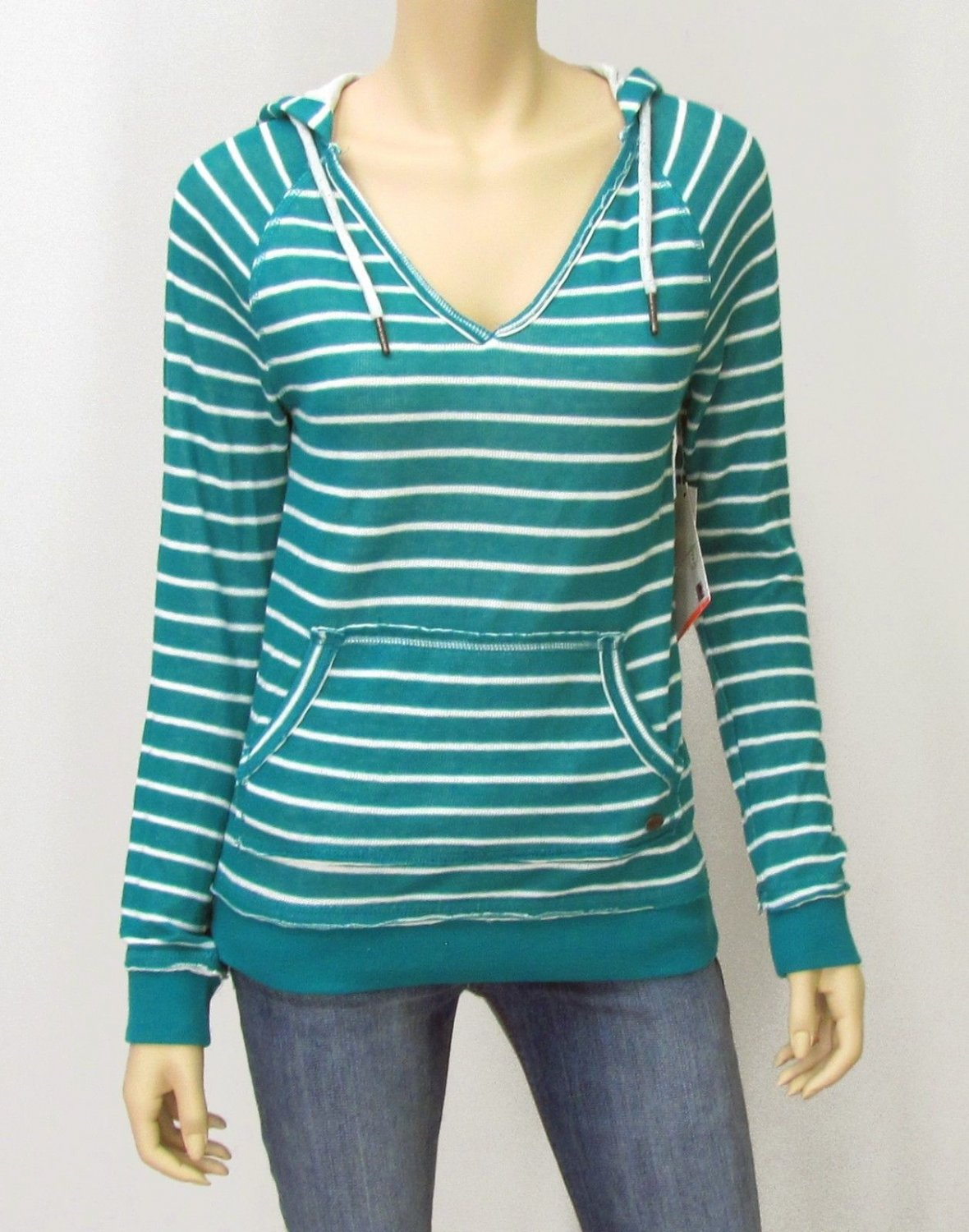 Roxy Juniors S Teal Blue Stripe Sweater Hoodie V-neck Hooded Pullover