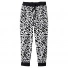 So Girls size 8 Daisy Print Joggers Black and White Floral Jogger Pants with Knit Waist