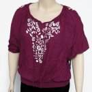 Style and Co Womens M Fuschia Purple Peasant Top Marrakesh Embroidered Shirt