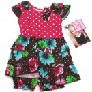 Young Hearts Baby Girls 12 Mos Pink Polka Dot Brown Floral Dress and Bloomers Set