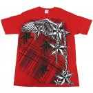 Yazbek Mens L Angels in Chains T-shirt Red Short Sleeve Tee Shirt Nautical Stars