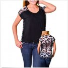 Adrienne Juniors S Black Knit Hi-Low Top with Sheer Gray Leopard Back Shirt