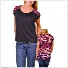 Adrienne Juniors M Black Knit Hi-Low Shirt with Sheer Purple Leopard Print Back