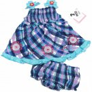 Youngland Baby Girls 18 Mos Blue and Purple Plaid Dress and Diaper Cover Girl's 2-Piece Set