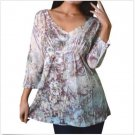 Yukiko Womens S Sublimation V-neck Shirt Women's Small Beige Floral and Filigree