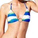 Ralph Lauren Womens XS Watercolor Halter String Bikini Top Blue Green White Stripe Women's Swim