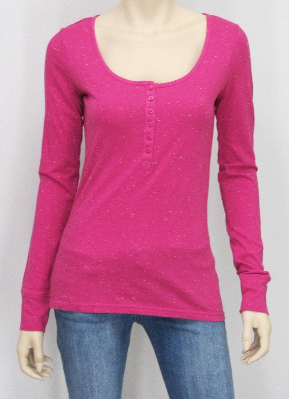 Arizona Juniors S Pink Long Sleeve Henley Tee Junior's Small Nepp T-shirt