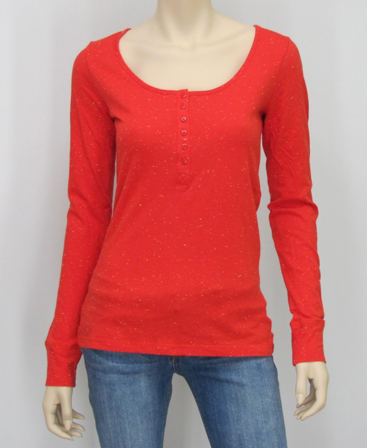 Arizona Juniors XL Red Long Sleeve Henley Tee Junior's Extra Large Nepp T-shirt