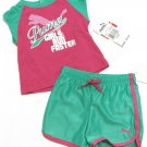 Puma Baby Girls 6-9 Mos Pink Shirt and Green Shorts Girl's 2-Piece Set