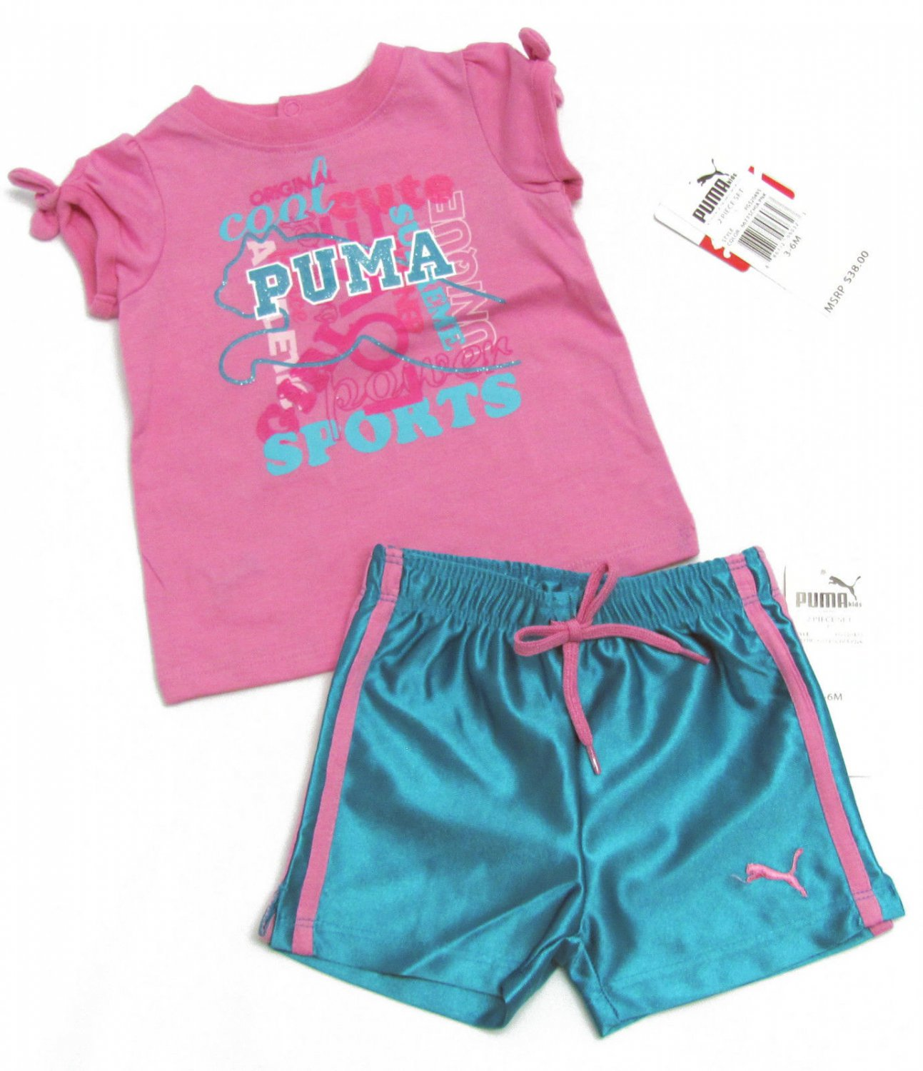 Puma Baby Girls 3-6 Months Pink T-Shirt and Blue Gym Shorts Girl's 2-Piece Set