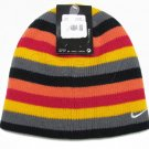 Nike Girls 7-16 Pink and Gray Stripe Knit Beanie Girl's Winter Hat