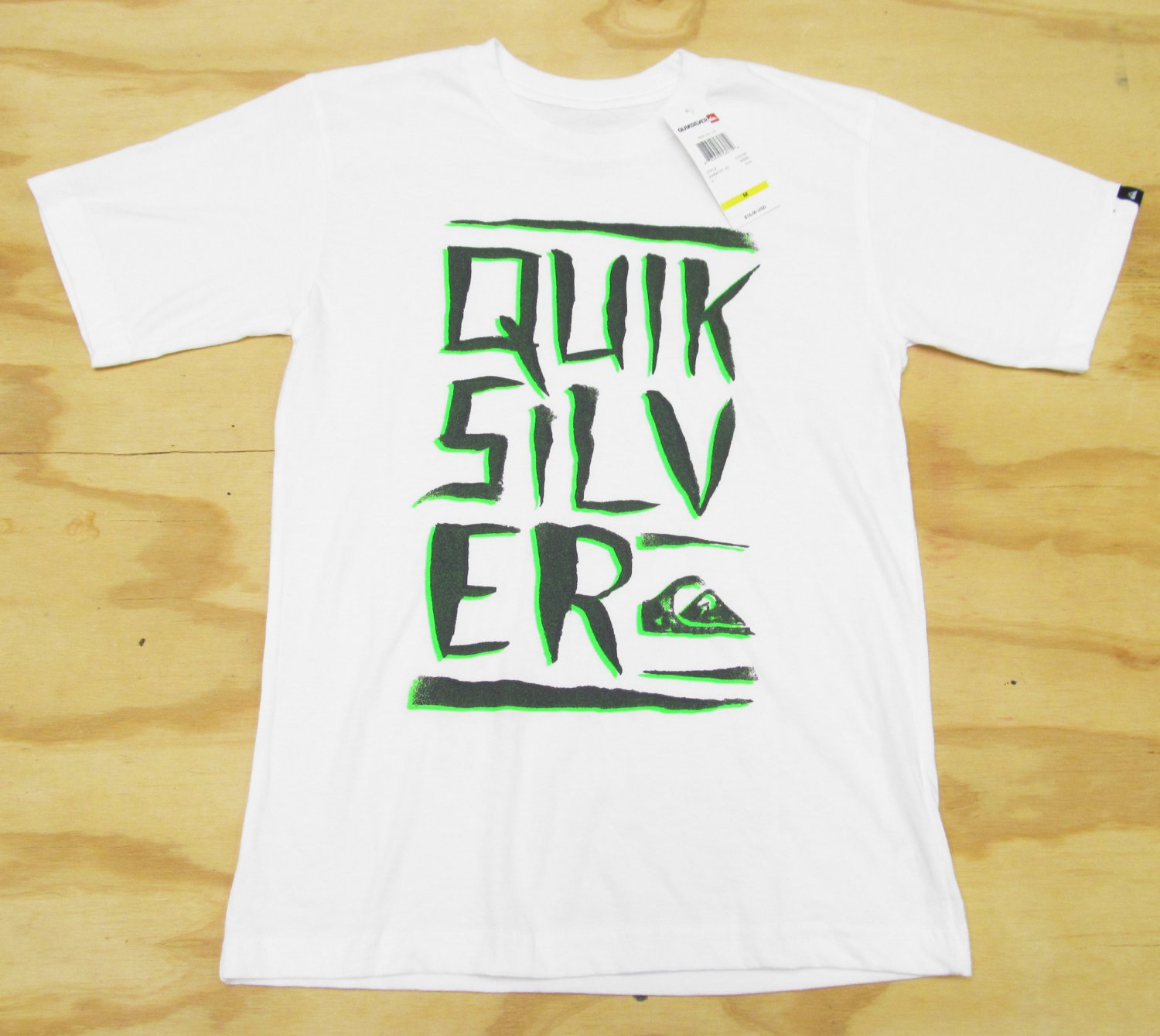 Quiksilver Boys size M True Call Tee White Short Sleeve T-shirt with Green Logo Youth Boy's