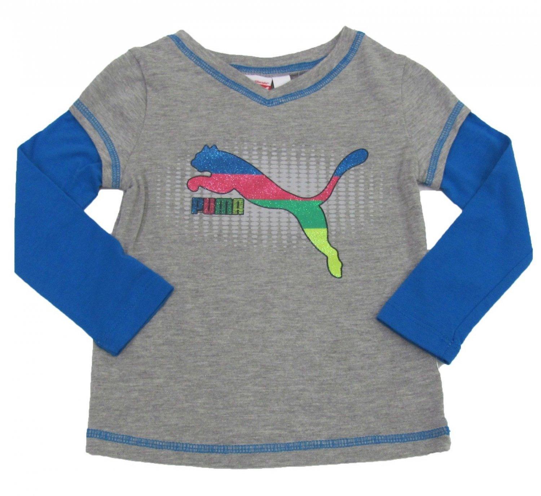 Puma Girls 2T Gray Long Sleeve T-shirt Toddler Girl's Slider Tee Shirt with Blue Sleeves
