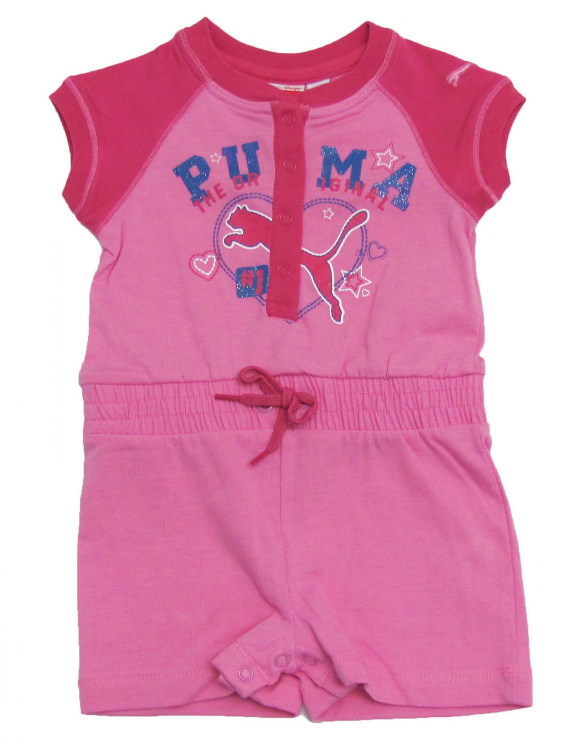 Puma Baby Girls 12 Months Pink Romper Suit One-Piece Shorts New Infant Girl's Summer