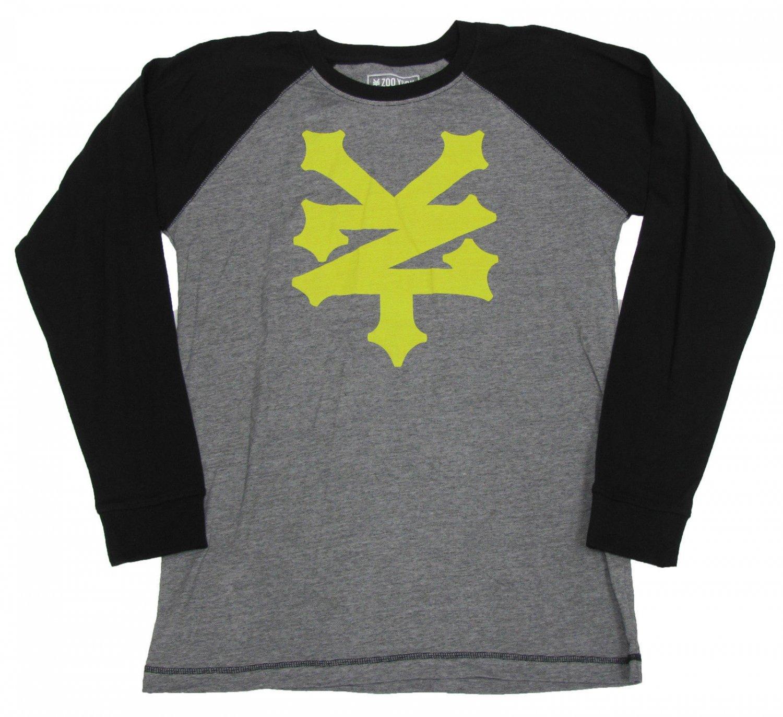 Zoo York Boys XL-20 Black and Gray Stripe Long Sleeve Raglan T-shirt Youth Boy's Tee Shirt