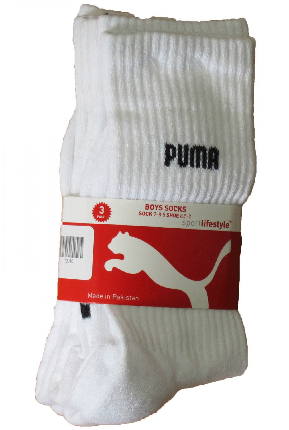 Puma Toddler Boys 3-Pack White Crew Socks Size 5-6.5 (fits boy's shoe size 5.5 to 11.5)