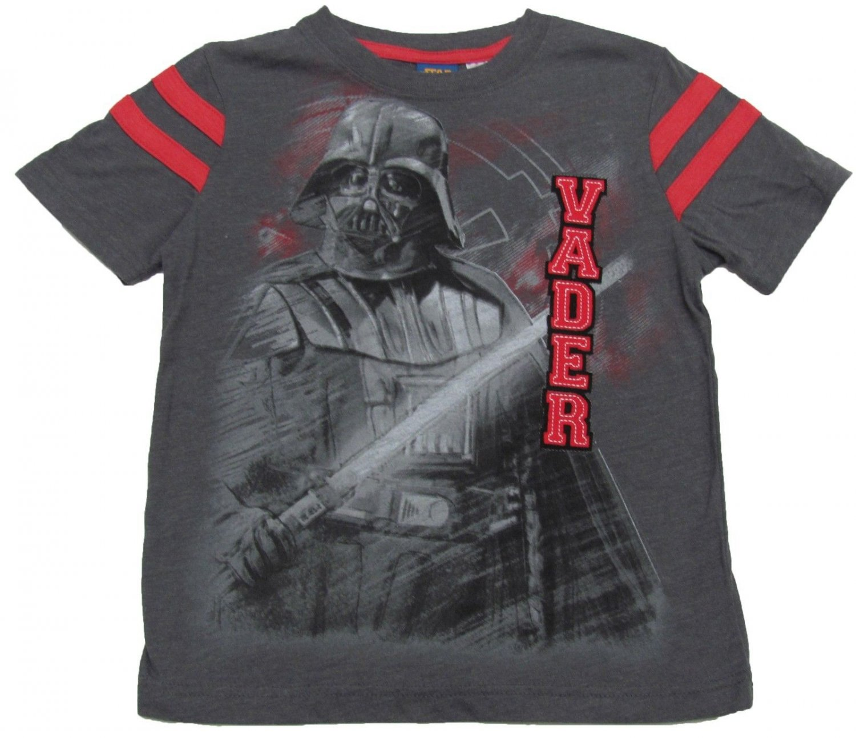 Star Wars Boys size 4-5 Dark Gray Darth Vader Varsity T-shirt Boy's Short Sleeve Tee Shirt