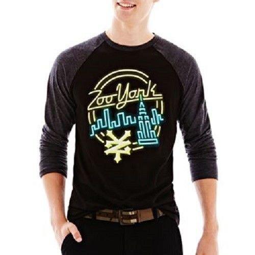 Zoo York Mens M Neon Lights Graphic Tee Shirt Black with Gray Raglan Sleeves Men's Medium
