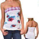Finesse Juniors S White Floral Tube Top Shirt with Plaid Trim Small