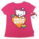 Hello Kitty Girls size 5 Glitter Heart T-shirt Kids Pink Short Sleeve Tee Shirt