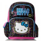 Hello Kitty Girls Polka Dot Backpack Black Book Bag