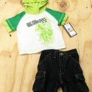 US Polo Assn Baby Boys 0-3 Months Green Raglan Hooded Tee and Dark Blue Jean Shorts 2-Piece Set