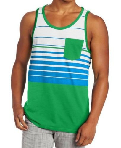 DC Shoes Mens L Green Stripe Overturn Tank Top Shirt with Pocket Men's Large
