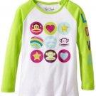 Paul Frank Baby Girls 18 Months Long Sleeve Raglan T-Shirt White and Green Love Tee Shirt