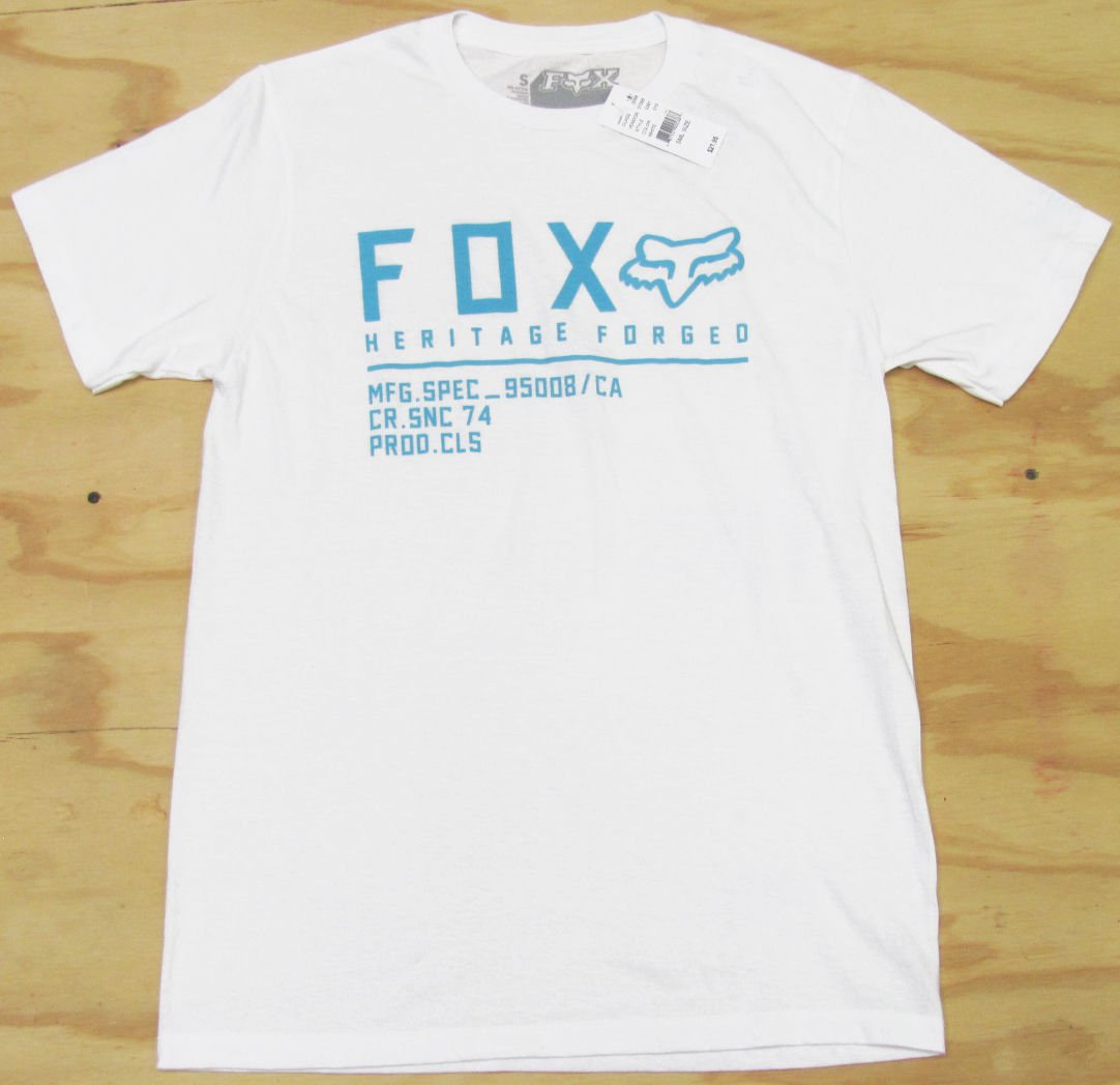 Fox Mens L Heritage Forged Tee Shirt White Short Sleeve T-shirt with Blue Logo Men's Large