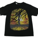 Kreative Kontent Boys M Tree Print Tee Shirt Black Cotton Short Sleeve T-shirt Boy's Medium