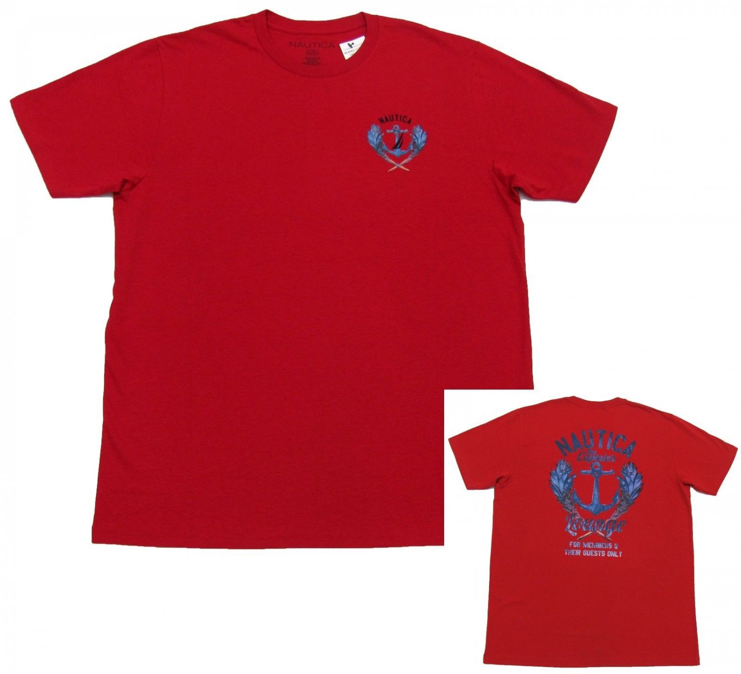 Nautica Mens L Nautical Red Tee with Anchor Back Men's Large T-shirt