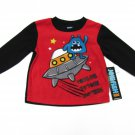 Jelli Fish Kids Boys 2T Long Sleeve Fleece Pajama Shirt Alien Space Ship