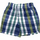 Kids Headquarters Baby Boys 3-6 Mos Blue Plaid Shorts Cotton