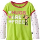 Paul Frank Baby Girls 18 Months Hugs Are Free Mock Layer Tee Shirt Lime Green Long Sleeve T-shirt