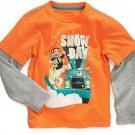 Paul Frank Baby Boys 18 Months Snow Day Mock Layer Tee Shirt Orange Long Sleeve T-shirt
