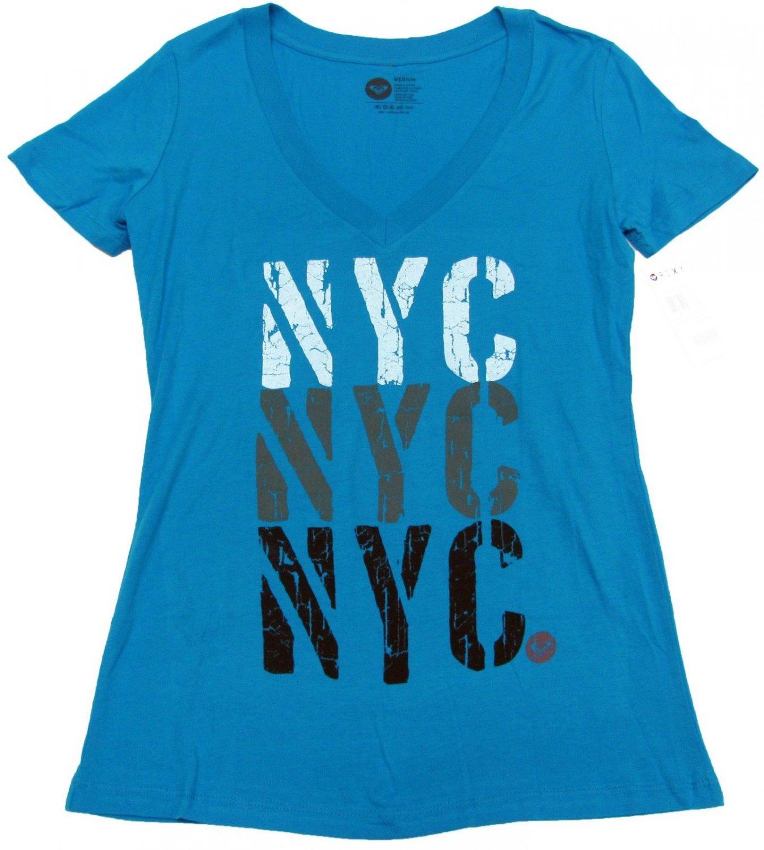 Roxy Juniors M Forever NYC V-neck Tee Blue T-shirt Short Sleeve Medium