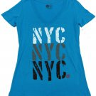 Roxy Juniors M Forever NYC V-neck Tee Blue T-shirt Short Sleeve Medium