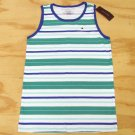 Tommy Hilfiger Boys M 12-14 Green and Blue Stripe Tank Top Sleeveless Shirt