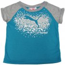 Puma Girls size 4 Star Raglan T-shirt Turquoise and Gray Short Sleeve Tee Shirt Kids Girl's