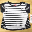 Puma Girls size 5 Black and White Stripe High-Low T-shirt Short Sleeve Tee Shirt Kids Girl's