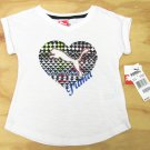 Puma Girls 3T V-neck Heart T-shirt White Short Sleeve Tee Shirt Toddler Girl's